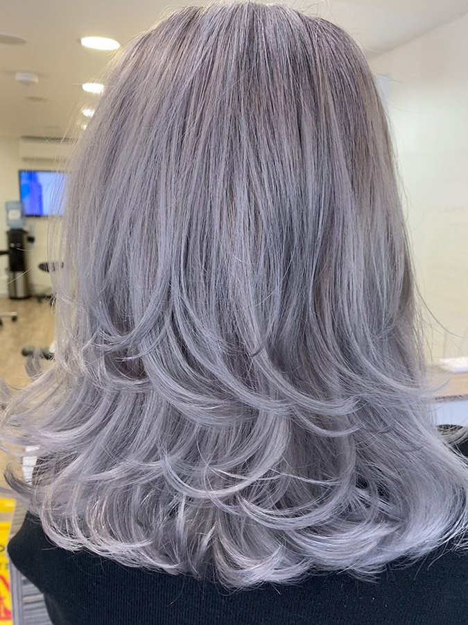 on-trend matte grey hair
