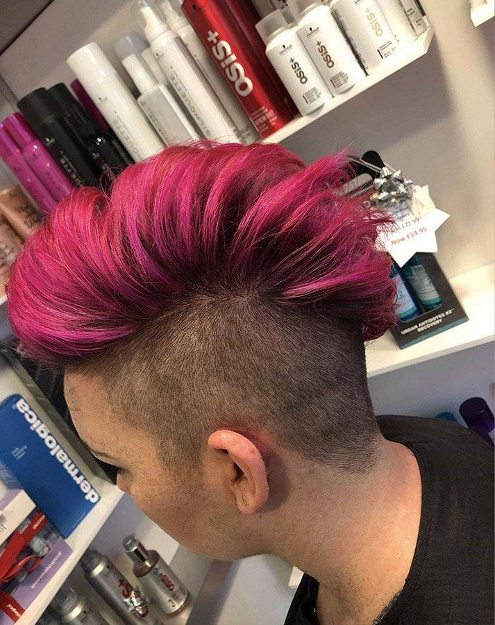 faux mohawk in vivid pink