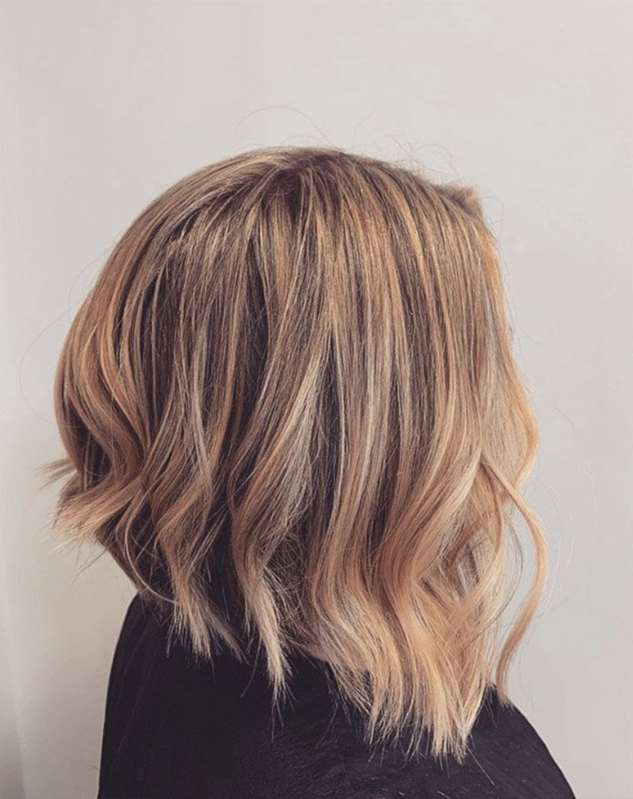 A-line bob with face framing blonde pieces