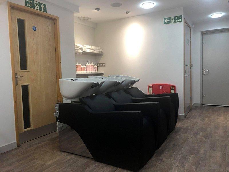 Hairwashing area at hetton salon